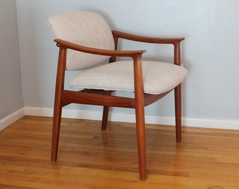 Danish Mid Century modern chair, Teak wood and new upholstery, France & sons