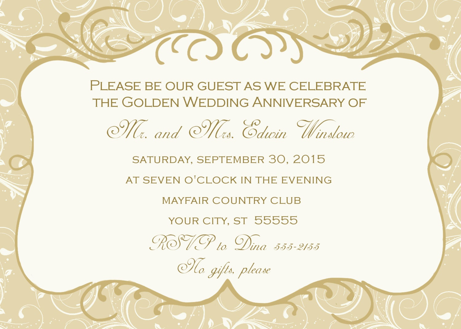 50th Wedding Anniversary Invitation Ideas: 50th Wedding Anniversary Invitation