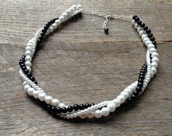 Black White Pearl Necklace, Wedding Necklace, Pearl Bridal Twisted Necklace, Simple Necklace on Silver or Gold Chain