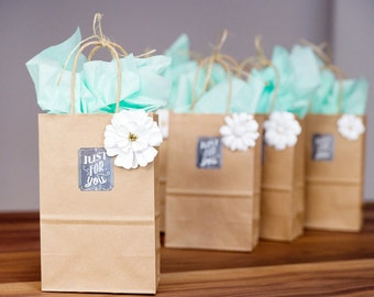 25 Small Brown Kraft Paper Bags with Handles