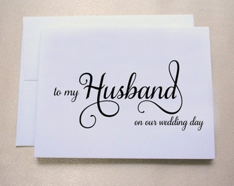 To my Husband on our Wedding Day Card / Wedding Day Card / Tree Free, 100% Cotton Cardstock