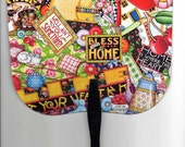 Vintage Mary Engelbreit Marys Mottos Plastic Hand Fan - Rare and Hard to Find