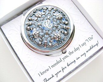 """Bridesmaid Gifts Set of 3 Custom Compacts with gift boxes and """"Thank  you for being in my wedding"""" embossed cards"""
