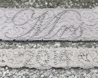 "Wedding Garter Set - WHITE Bridal Garter with SILVER Rhinestone ""Mrs"" Show Garter & Rhinestone DATE Toss Garter - other colors"