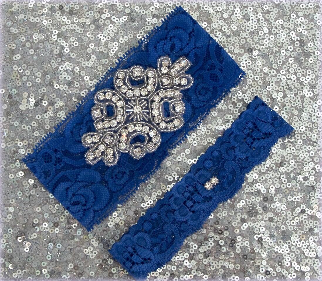 Wedding Garter Set ROYAL BLUE Lace SILVER Rhinestone Crest