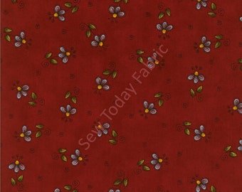 Tossed Flowers on Red - Why? Collection by Leanne Anderson - Henry Glass 8215-88 (sold by the 1/2 yard)