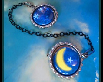 Star and Moon celestial Sweater Guard Clip