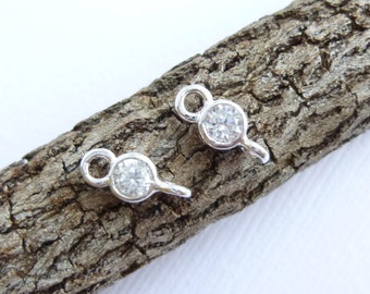 Super Tiny Sterling Silver CZ Links... 2 pieces
