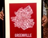 """Greenville, South Carolina Neighborhoods Screen Print Map Art (18""""x12"""")"""