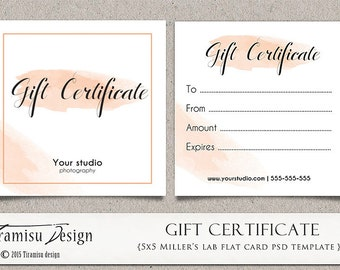 Photography Gift Certificate photoshop 5x5 card template, sku4-16 INSTANT DOWNLOAD