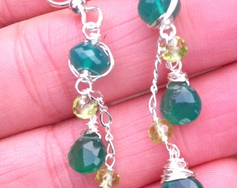 green onyx ,peridot  Earrings, Sterling Silver, Wire Wrapped, Gemstones, Dangle Earrings