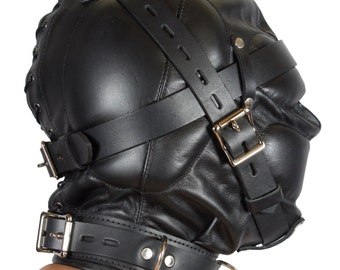 Genuine Leather Total Sensory Deprivation Hood With Locking Buckles, Collar. Slave Fetish BDSM Gear, Cosplay Costume.