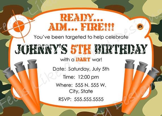 Custom Dart Gun and Camouflage Birthday Invitation