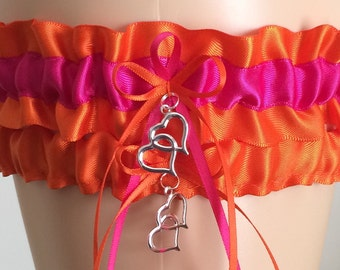 Wedding Garter, Bridal Garter Sets, Orange and Fuchsia Pink Wedding Garter Set, Keepsake Garter, z