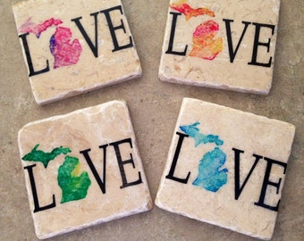 Set of 4 Tumbled Tile Michigan love Coasters with Cork backing.