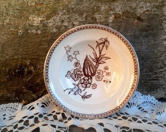 Antique Brown BERRY OR FINGER Bowl, Thomas Elsmore and Sons, Tunstall, Brown Transferware, Serving, Circa 1878