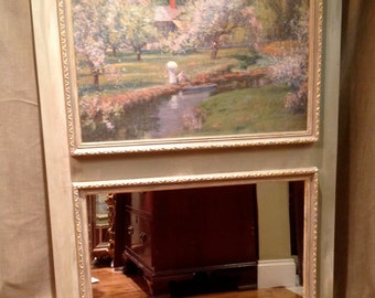 French Trumeau Mirror    Gilded 19th Century Impressionist Oil Giclee