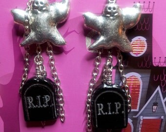 Glass Ghost Earrings with Tombstone