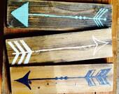 Wood Arrow Sign Set / Funky Signs / Arrow Wall Art / Bohemian Decor / Boho Chic / Gypsy Decor / Tribal Arrows Wall Decor / Hippie Decor