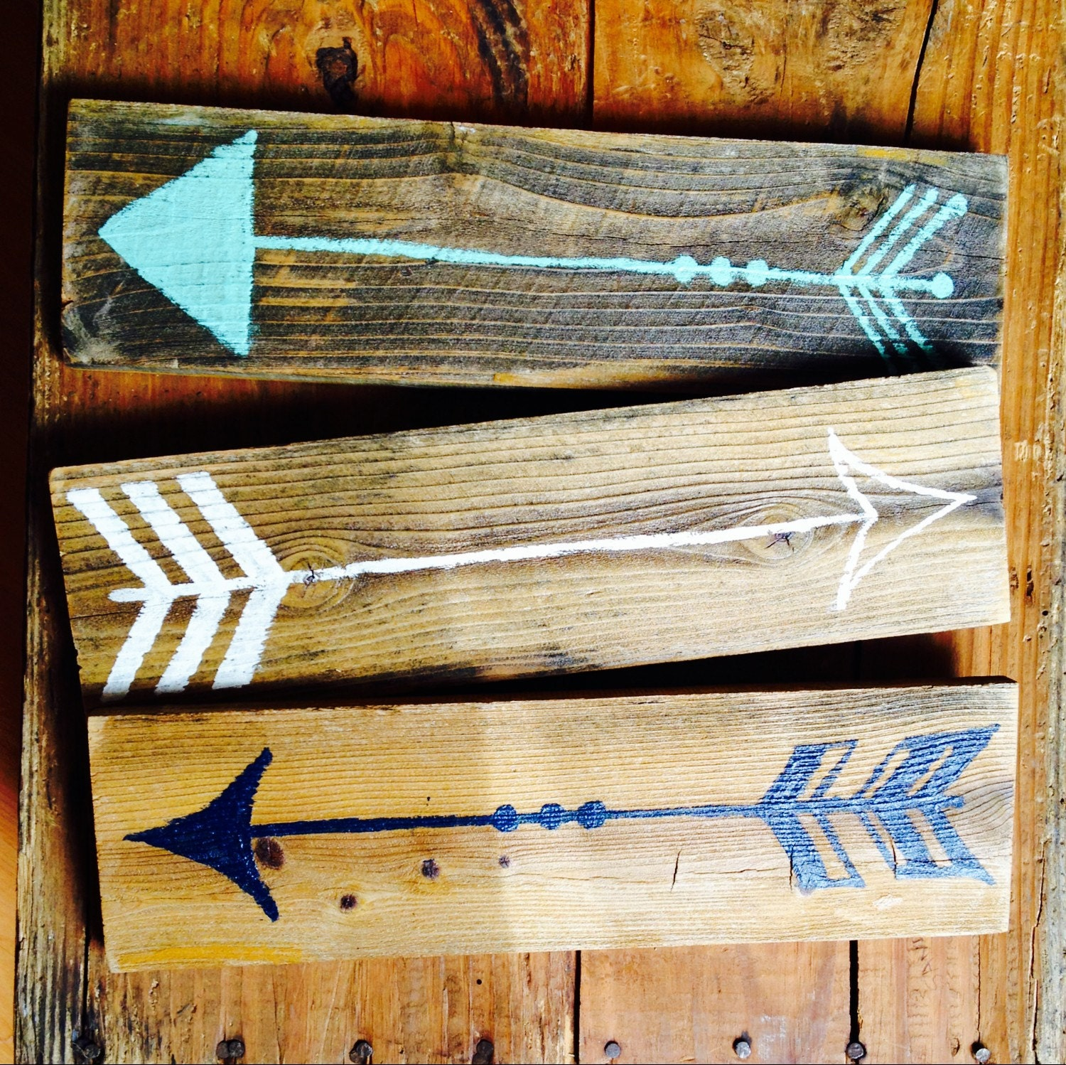 Wall Decor Wooden Arrows : Wood arrow sign set funky signs wall art bohemian