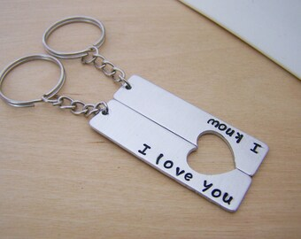 I Love You I Know Half Heart Key Couples Chain Set / Couples Gift / Her One His Only