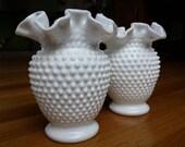 HALF OFF SALE!! Matching Pair of Vintage Hobnail Ruffled Vases