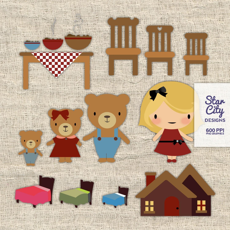 Goldilocks And 3 Bears Clipart