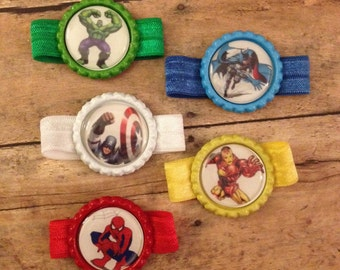Birthday party favor bracelet set superhero set of 5