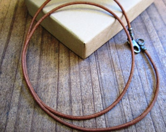 1.5mm Natural Brown Genuine Leather Cord Necklace - Antiqued Pure Sterling Silver Clasp/Ends - mens - simple/basic