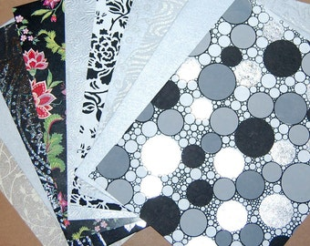 Decorative Paper Pack - Black and White and SilverPaper Set of 10 Flocked, Embossed,Glittered and Grass Paper Sheets.