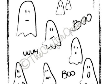 ghosts, cute ghosts, boo, vectors, illustration