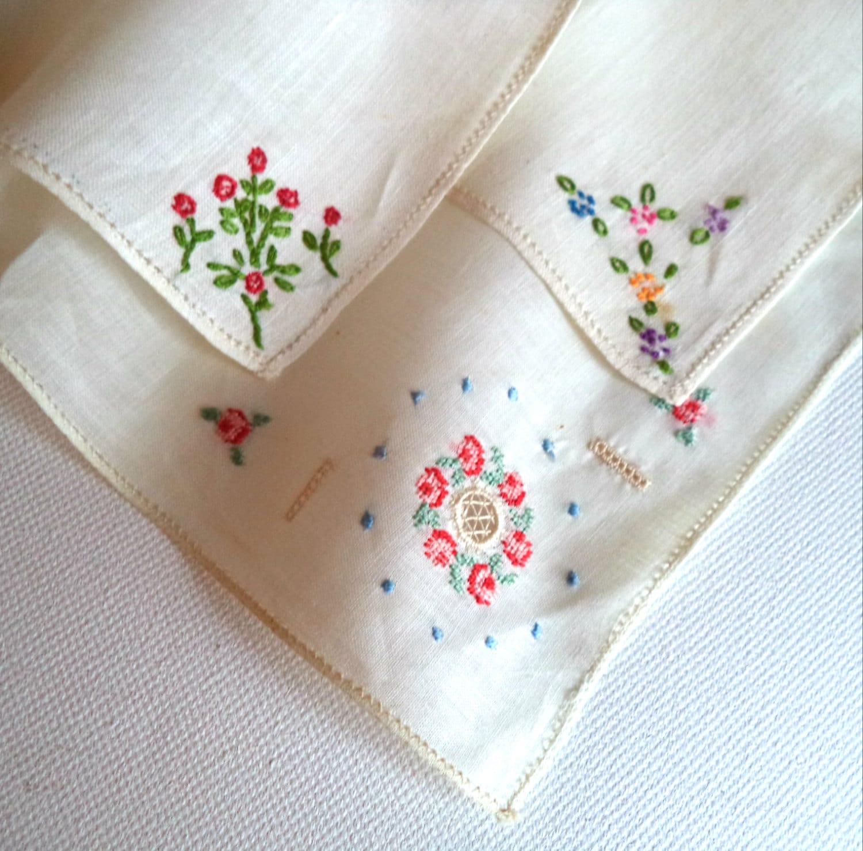 3 Vintage Handkerchiefs Hand Embroidery 1950u0026#39;s By FranciesFare