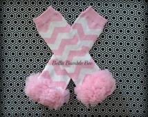 Pink Chevron Leg Warmers Baby Outfit Leggings Pants with Tulle Ruffles, Baby Girl Chiffon Pants, Newborn Infant Tights - Smash Cake Outfit