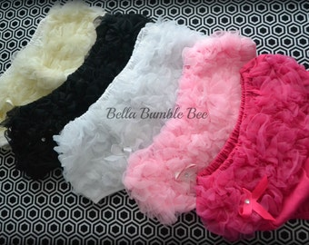 Choose one Any COLOR Chiffon Ruffle Bum Baby Bloomer Diaper Cover with Rhinestone Bow Photo Prop 12 COLORs to Choose From Bellabumblebee