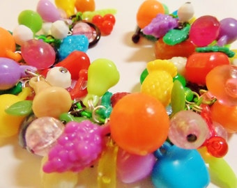 Vintage Fruit Salad Charm Bracelet. Vintage to now charms and newly handcrafted