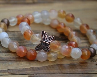 Agate/ agate bracelet/ butterfly bracelet/ butterfly jewelry/ bracelet/ beaded bracelet/ butterfly