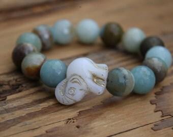 bead bracelet/ elephant bracelet/ bead jewelry/ elephant jewelry/ amazonite bracelet/ amazonite