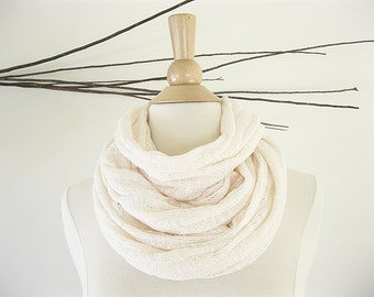 Ivory Sweater Scarf | Infinity Scarf Summer | Eternity Scarf | Tube Scarf | Sweater Knit | Natural Clothing | Simple Clothing