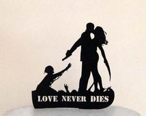 Wedding Cake Topper - Zombieland Silhouette Wedding Cake Topper with LOVE Never Dies