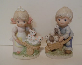 Homco Girl With Kittens and Boy With Puppies Figurines