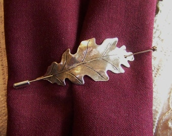 Shawl Pin, Scarf Pin, Oak Leaf Pin, Sweater Pin, Silver Oak Leaf Shawl Pin, Leaf Pin, Stick Pin, Silver Oak Leaf