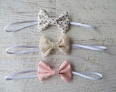 Pink, Gold and Champagne Lace Mini Bow Headband Set-Polka Dot Headbands-Bows for Infant, Toddler, and Little Girls-Headband Set