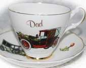 DAD Vintage Bone China Teacup and Saucer by Argyle  / Vintage Automobile pattern / Gift for Dad