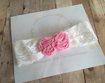 Headband, Pink bow headband, baby headband, child headband, vintage headband, adult headband