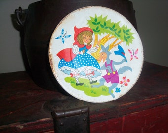Small Vintage Metal Plate Bad Wolf Red Riding Hood Fairy Tale Children