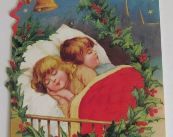 Snuggled Down For A Long Winters Nap Victorian Christmas Card Holiday Greeting Card Christmas Card Vintage Xmas Card and Envelope