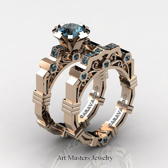 Caravaggio Modern 14K Rose Gold 1 0 Ct Blue Topaz Engagement