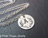 Tiny Deer antler necklace sterling silver antler monogram personalized bridesmaids gifts