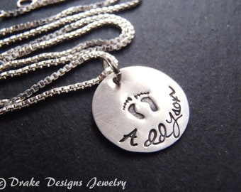 Sterling silver new mom push present necklace mother hand stamped personalized necklace push gift