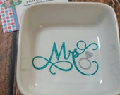 Mrs ring dish wedding gift engagement gift glitter being ring dish personalized ring dish